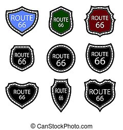 United States Numdered Sign 66 Route. Highway Emblems Collection. Travel USA Labels.