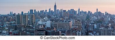 united states, ny york city, -, april, 28, 2012., ny york city, skyline manhattan, aerial udsigt, hos, gade, og, skyskrabere