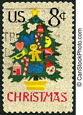 UNITED STATES OF AMERICA - 1973: shows Christmas Tree in...