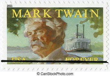 UNITED STATES OF AMERICA - CIRCA 2011: A stamp printed in USA shows Mark Twain (1835-1910), circa 2011