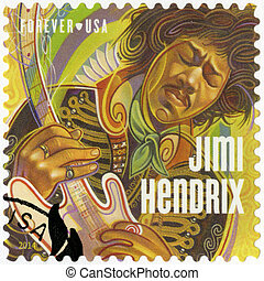 UNITED STATES OF AMERICA - CIRCA 2014: A stamp printed in USA shows Jimi Hendrix, circa 2014