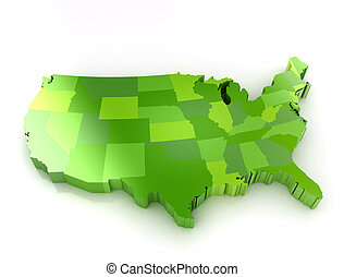 United States of America 3d map - Green 3d map of usa on...
