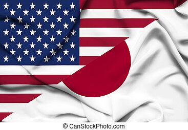 United States of America and Japan waving flag