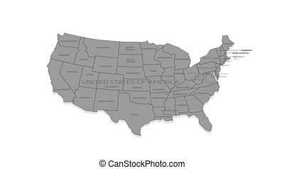 United States of America animated map with alpha channel. - ...