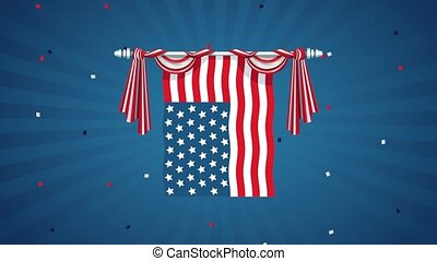 united states of america celebration animated card with flag hanging