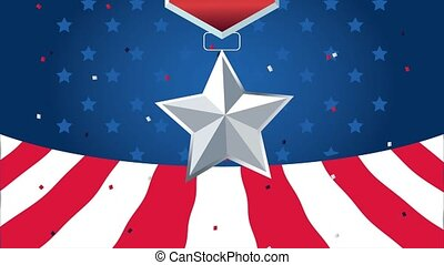 united states of america celebration animated card with medal and flag