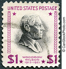 UNITED STATES OF AMERICA - CIRCA 1938: A stamp printed in...