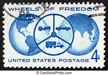 UNITED STATES OF AMERICA - CIRCA 1960: a stamp printed in...