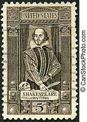 UNITED STATES OF AMERICA - CIRCA 1964: A stamp printed in USA shows William Shakespeare (1564-1616), 400th birth anniversary, circa 1964