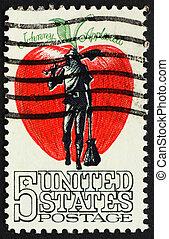 United States of America - circa 1966: a stamp printed in the Un