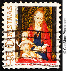 UNITED STATES OF AMERICA - CIRCA 1966: a stamp printed in the USA shows Detail from Painting Madonna and Child with Angels by Hans Memling, Christmas, circa 1966