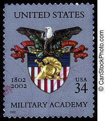 United States of America - CIRCA 2002: A stamp printed in United States shows coat of arms of the US military Academy at West Point, bicentennial of the US military Academy, circa 2002.