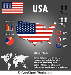 United States Of America Country Infographics Template Vector.