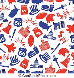 united states of america country theme symbols seamless pattern eps10