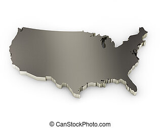 united states of america 3d metal map
