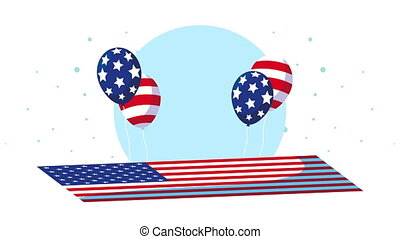 united states of america flag and balloons helium animation