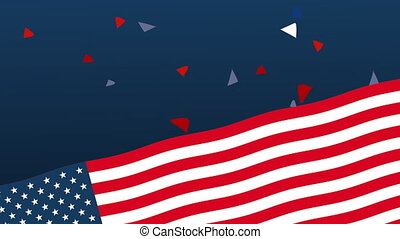 united states of america flag and confetti animation