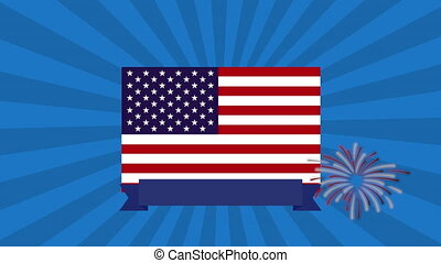 united states of america flag and fireworks animation