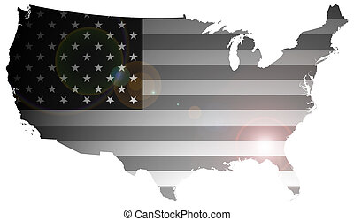 United States of America Flag - Monochrome flag of the...