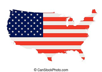 Flag of the United States of America overlaid on outline map isolated on white background