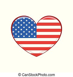United States of America flag in the shape of a heart, emblem of USA vector Illustration on a white background