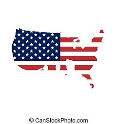 united states of america flag in usa map