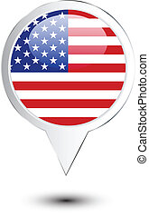 United States of America flag map pin