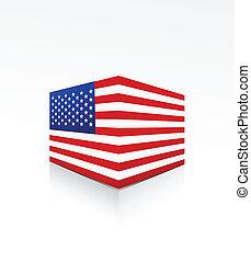 United States of America flag box on white