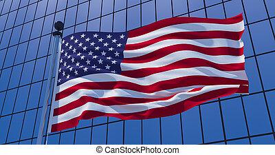 United States of America flag on skyscraper building background. 3d illustration