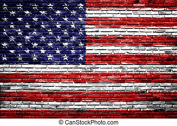united states of america flag painted on old brick wall...