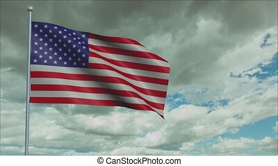 United states of America Flag in 3D render with sky background in Slow Motion