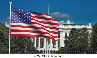 United states of America Flag in 3D render with White House background in Slow Motion