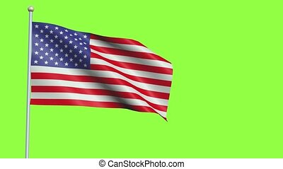 United states of America Flag in 3D render with green screen background in Slow Motion