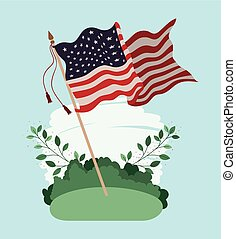 united states of america flag waving in the field