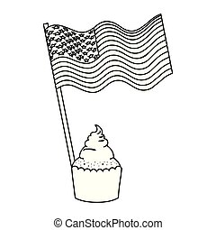 united states of america flag with cupcake