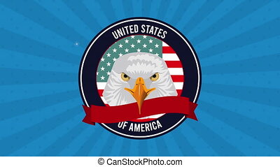 united states of america flag with eagle animation