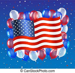 united states of america flag with balloon background