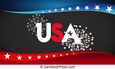 united states of america flag with word and fireworks