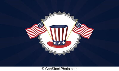 united states of america flags and tophat