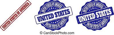 UNITED STATES OF AMERICA Grunge Stamp Seals