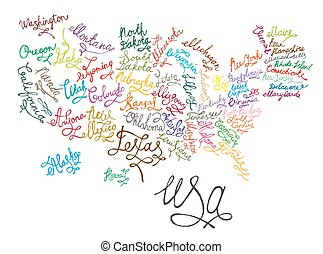 United States of America hand drawn map. Editable colourful vector illustration