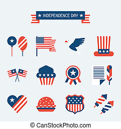 United States of America Independence Day icon set.