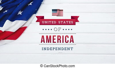 United States of America, Independent text in banner with flag