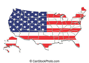 United States of America map, 3D rendering