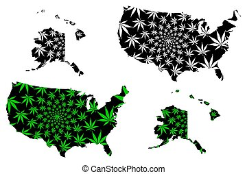 United States of America - map is designed cannabis leaf