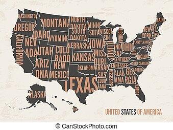 United States of America map print poster vintage design.