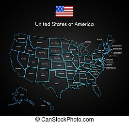 United States Of America Map Technology USA Vector