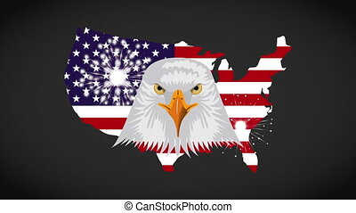 united states of america map with eagle animation
