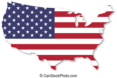 United States Of America Map With Flag On White Background