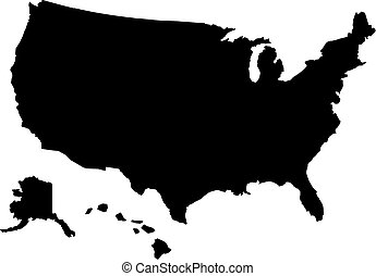 United States of America map with hawaii
